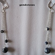 Blue And White Sodalite And Silver Chain Shoulder Sweep Earrings