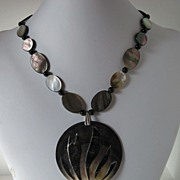 Black Lip Shell And Black Onyx Statement Necklace With A Large Inlaid Pendant