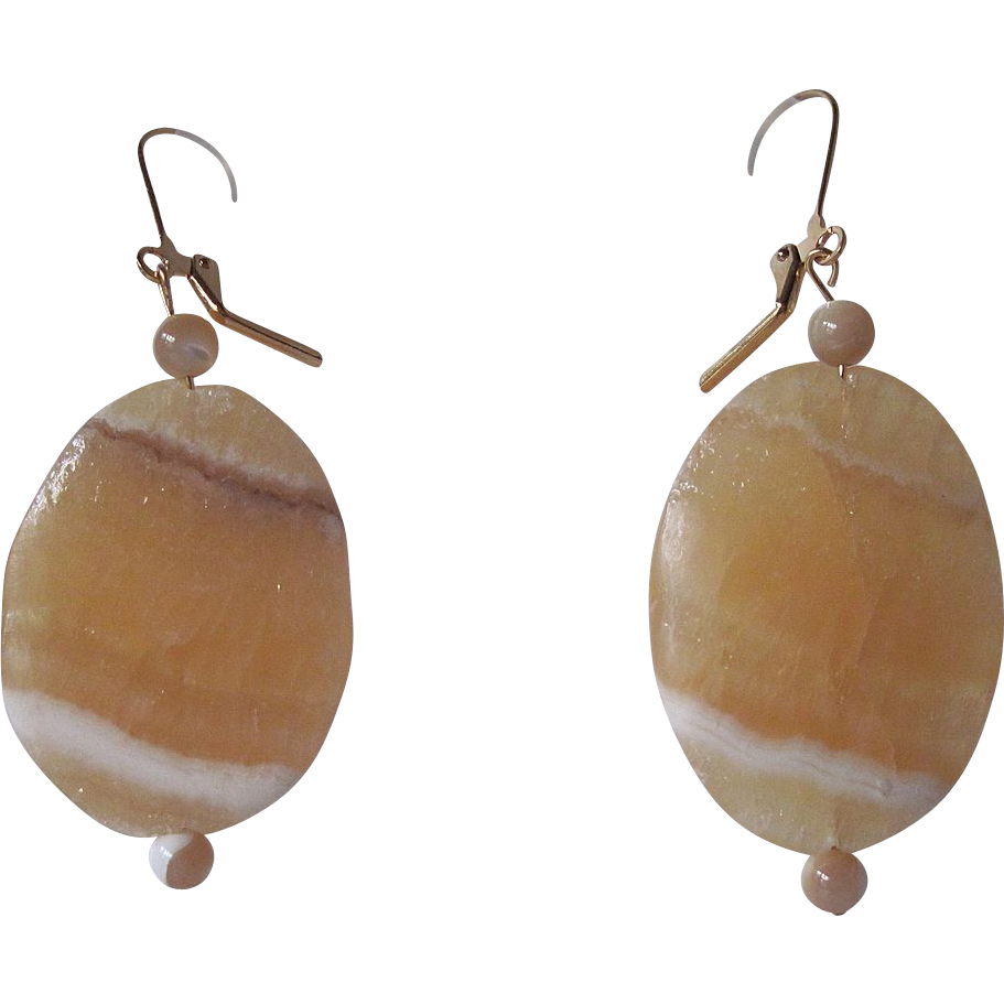 Simple Golden Aragonite And Natural Mother Of Pearl Dangle Earrings