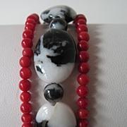 """Exotic Zebra """"Jasper"""" And Red Coral Triple Strand Bracelet"""