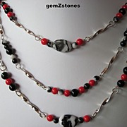 "Exotic Zebra ""Jasper"", Red Coral And Black Onyx Triple Strand Necklace"