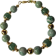 "Beautiful Ching Hai ""Jade"" And Green Adventurine Single Strand Bracelet"
