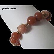 Pretty Peach Quartz And Red Adventurine Single Strand Bracelet
