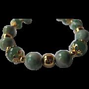 "Pretty Ching Hai ""Jade"" And Green Adventurine Single Strand Bracelet"