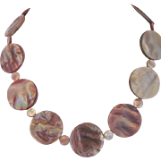Iridescent Brown Lip Shell Single Strand Necklace