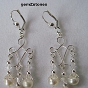 White Lotus Pearl, Swarovski Crystal And Sterling Silver Chandelier Earrings