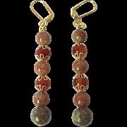 Beautiful Red Carnelian And Autumn Jasper Dangle Earrings