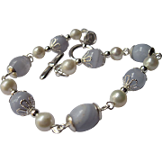 White Lotus Pearl And Blue Lace Agate Single Strand Bracelet