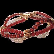 Baltic Amber, Citrine And Carnelian Triple Strand Bracelet
