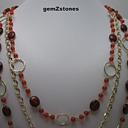 Vibrant Reddish Orange Carnelian Triple Strand Necklace