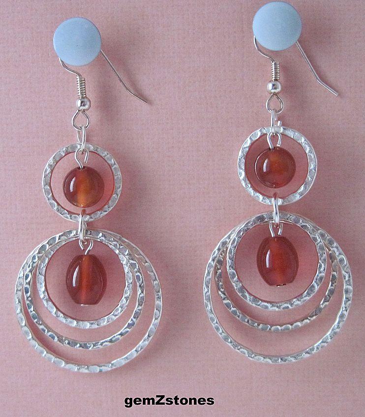 Fun And Vibrant Red Carnelian Dangle Earrings