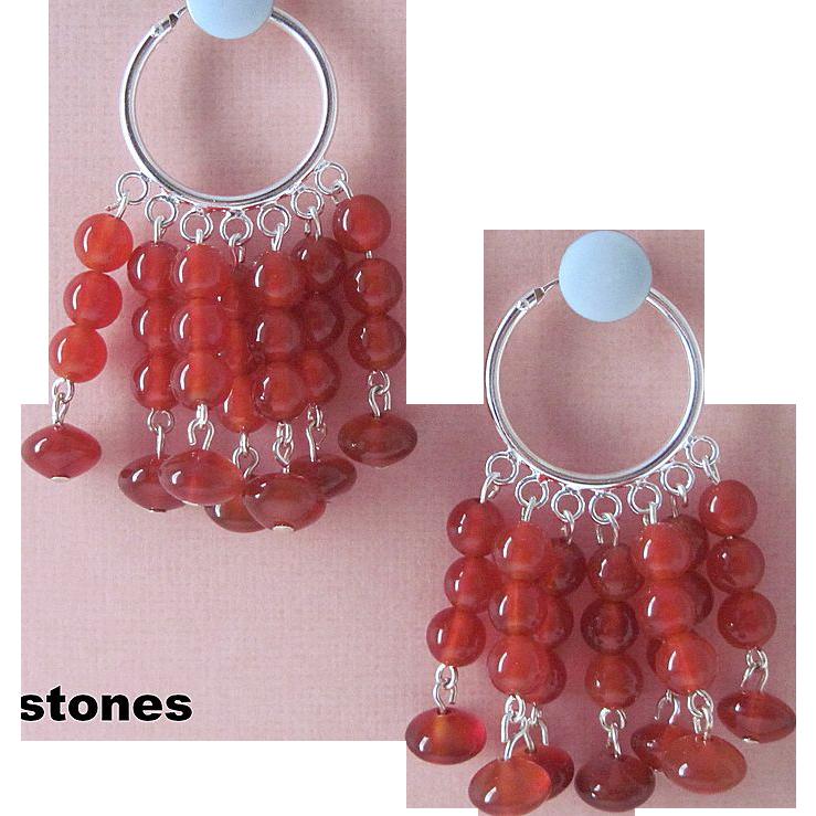 Fun And Vibrant Bright Red Carnelian Dangle Earrings