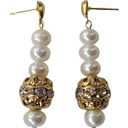 Dainty White Lotus Cultured Pearl And Swarovski Crystal Dangle Earrings