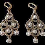 Elegant White Lotus Cultured Pearl Long Dangle Earrings