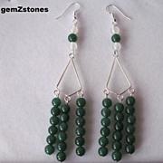 Extra Long White Agate And Green Aventurine Dangle Earrings