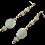 Elegant Sea Foam Green Serpentine And Gold Long Dangle Earrings