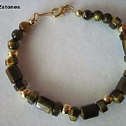 Beautiful Brown And Gold Tiger Eye Single Strand Bracelet