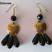 Pretty Black Onyx And Gold Dangle Earrings