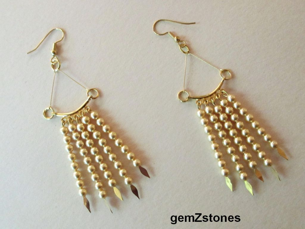 Elegant Gold Swarovski Crystal Pearl Dangle Earrings