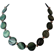 SALE Beautiful Blue-Green Mother Of Pearl Shell Single Strand Necklace