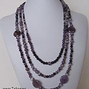 Medium To Dark Purple Amethyst And Chevron Amethyst Triple Strand Necklace