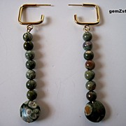 Unique Moss Green Natural Rhyolite Dangle Earrings