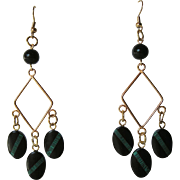 Black Onyx And Malachite Inlay Dangle Earrings