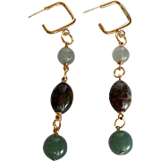 Green Chalcedony and Green Aventurine Dangle Earrings