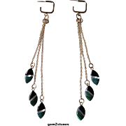 Beautiful Black Onyx, Mother Of Pearl And Malachite Mosaic Inlay Shoulder Sweep Earrings
