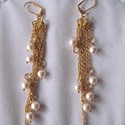 White Lotus Cultured Freshwater Pearls And Gold Chain Shoulder Sweep Earrings