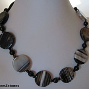 SALE Black Agate and Black Onyx Necklace