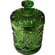 Vintage Imperial Glass Hobstar Pattern Green Glass Humidor or Biscuit Barrel Jar