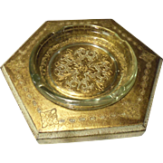 Italian Florentine Gold Gilt Hand-Painted Multi Side Large Ash Tray Made in Italy Numbered