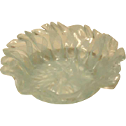 Vintage Lovely Murano Venetian Latticino Art Glass Dish - Small Aqua Blue/White