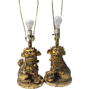 Vintage Asian Gold Foo Dog Table Lamp Pair