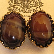 Vintage Bohemian Glass Earrings 1940s West German