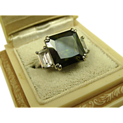 Vintage Tourmaline & Cubic Zirconia Sterling Silver Ring ~ c1960s