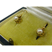 SOLD Antique French Napoleon III Dormeuses Earrings 18 k Gold & Pearl ~ c1870
