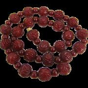 Fine Art Deco Cherry Amber Bakelite Hand Carved Rose Bead Necklace.