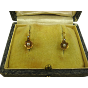 SOLD Antique Petite French Napoleon III Dormeuses 18k Gold Pearl Earrings ~ c1870