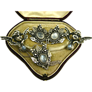 Art Nouveau Sterling Moonstone Swag Brooch & Earrings Demi ~ c1910