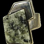 Rare Bjorn Weckstrom Lapponia Finland Granite Sterling 'Bogart' Ring ~ 1986