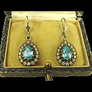 Vintage Blue White Topaz Sterling Silver Vermeil Dormeuses Earrings ~ c1940s