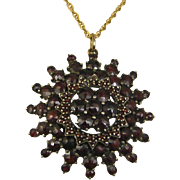 Antique Art Nouveau Garnet Pendant ~ c1910