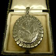 Vintage Engraved English Sterling Silver Locket ~ 1979