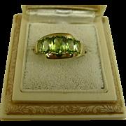 Fine Vintage Peridot Five Stone Yellow Gold Ring