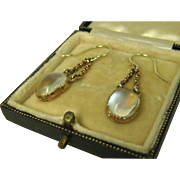 SALE PENDING Superb Antique Victorian Moonstone Pinchbeck Pendant Earrings ~ c1870