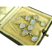 Superb Vintage Sterling Silver and Moonstone Pendant Earrings