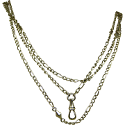 French Antique 19th Century Silver Sautoir Long Guard Chain ~ c1890s