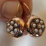 SOLD Antique Fine Victorian 18k Rose Gold Pearl Faceted Earrings C1870